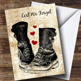 Military Boots & Hearts Customised Remembrance Day Card