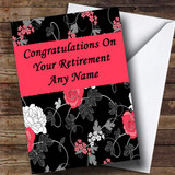 Pretty Black Vintage Floral Customised Retirement Card