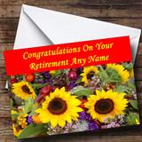 Beautiful Sunflowers Customised Retirement Card