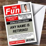 Funny Joke Spoof Newspaper Customised Retirement Card