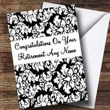 Floral Black White Damask Customised Retirement Card