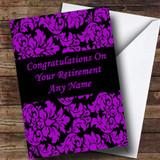 Floral Black Purple Damask Customised Retirement Card