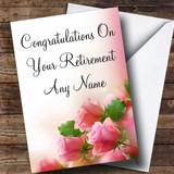 Beautiful Soft Pink Pastel Roses Customised Retirement Card