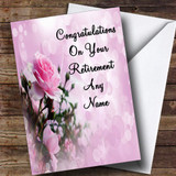 Pale Pretty Pink Rose Customised Retirement Card