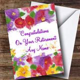 Beautiful Flowers Customised Retirement Card