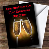 Champagne Glasses Customised Retirement Card