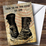 Army Boots American Flag Customised Retirement Card