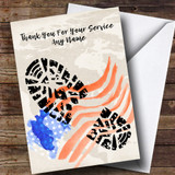 Military Boot Print & American Flag Customised Retirement Card