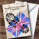 Military Boot Print & Union Jack UK Flag Customised Retirement Card