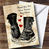 Military Boots & Hearts Customised Retirement Card