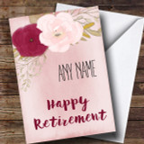 Pink Flowers Retirement Customised Card