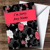 Pretty Black Vintage Floral Customised Sorry Card