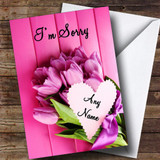 Pink Bunch Of Flowers Customised Sorry Card