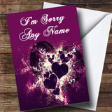 Purple Hearts And Swirls Customised Sorry Card