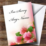 Cute Pink Roses Customised Sorry Card