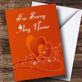 Orange Love Heart Customised Sorry Card