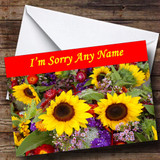 Beautiful Sunflowers Customised Sorry Card