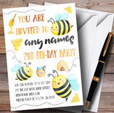 Watercolour Bumble Bees Children's Birthday Party Invitations
