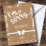Burlap And Lace Sorry Customised Card