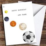 Sports Balls Customised Birthday Card