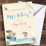 Watercolour Fishing Customised Birthday Card