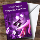 Purple Butterfly Customised Sympathy / Sorry For Your Loss Card