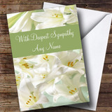 White Lily Flowers Customised Sympathy Card