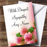 Beautiful Soft Pink Pastel Roses Customised Sympathy / Sorry For Your Loss Card