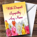 Yellow Flowers Customised Sympathy / Sorry For Your Loss Card
