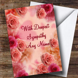 Pretty Pink Flowers Customised Sympathy / Sorry For Your Loss Card