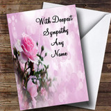Pale Pretty Pink Rose Customised Sympathy / Sorry For Your Loss Card