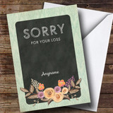 Customised Sorry For Your Loss Vintage Mint Floral Watercolour Sympathy Card