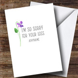 Customised Sorry For Your Loss Single Flower Sympathy Card
