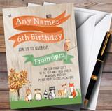 Woodland Forest Animals Fox Children's Birthday Party Invitations