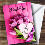 Pink Bunch Of Flowers Customised Thank You Card