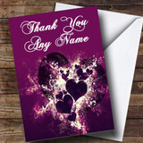 Purple Hearts And Swirls Customised Thank You Card