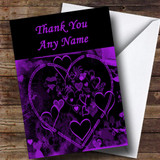 Purple And Black Love Heart Customised Thank You Card