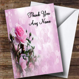 Pale Pretty Pink Rose Customised Thank You Card