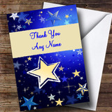 Blue And Cream Stars Customised Thank You Card