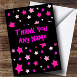 Black And Pink Stars Customised Thank You Card