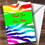 Rainbow Zebra Animal Print Customised Thank You Card