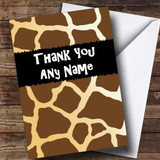 Giraffe Animal Print Customised Thank You Card