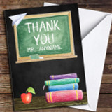 Classic Chalk Board Apple & Books Customised Thank You Card