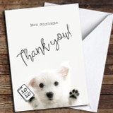 Cute Puppy Thank You Teacher Customised Thank You Card