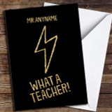 Lightening Bolt Super Teacher Customised Thank You Card