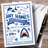 Blue & White Shark Under The Sea Children's Birthday Party Invitations