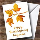 Golden Leaves Customised Thanksgiving Card