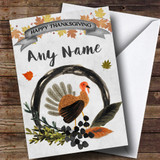 Grey Watercolour Fall Turkey Customised Thanksgiving Card