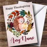 Hedgehog Autumn Wreath Customised Thanksgiving Card