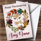 Owl Autumn Wreath Customised Thanksgiving Card